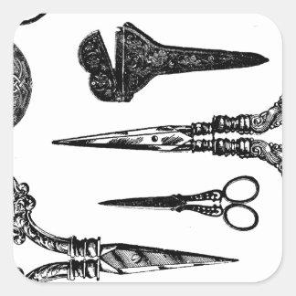 Antique Scissors Vignette Square Sticker