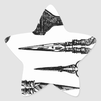 Antique Scissors Vignette Star Sticker