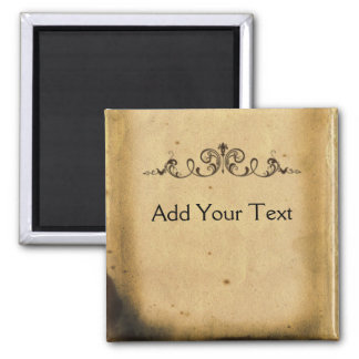 Antique Scroll 2 Inch Square Magnet