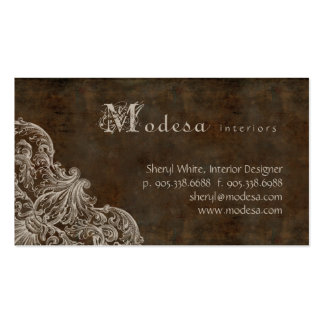 Antique Scroll Business Card Interior Design Brown