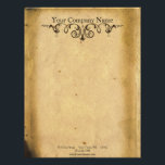 """Antique Scroll Letterhead<br><div class=""""desc"""">A bold stationery or promotional piece can be a great advertising tool for your business. Use them yourself,  give to employees,  or use them as customer give-aways. A great vintage look business card for those involved with antiques! The old parchment background sets off the elegant brass colored vintage scroll.</div>"""