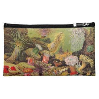 Antique Sea Anemone Seascape Litho Makeup Bags