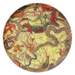 Antique Sea Monsters Map Art Vintage Wall Decor Dinner Plates