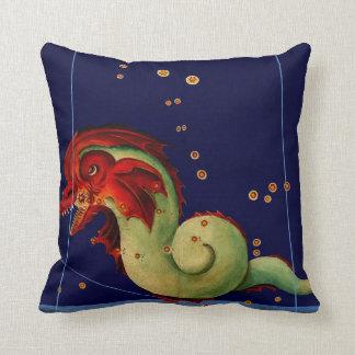Antique Sea Serpent Creature Map Art Vintage Style Throw Pillow