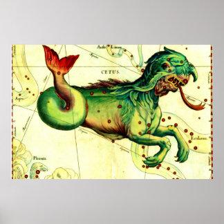 Antique Sea Serpent Mythology Vintage Art Print
