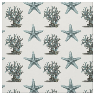 Antique Sea Star and Coral Illustration Fabric