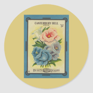 Antique Seed Packet: Canterbury Bells Classic Round Sticker