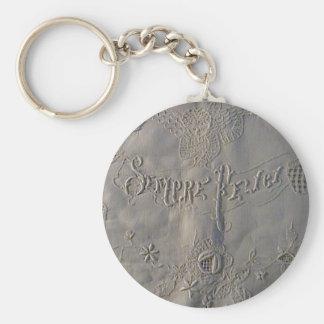 Antique 'Sempre Felici' Italian Wedding Sheet Basic Round Button Keychain