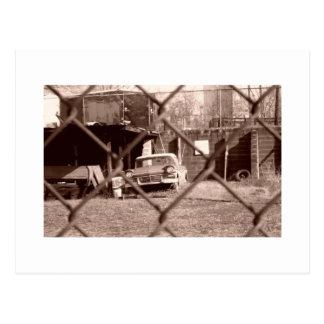 antique sepia tone car picture postcard
