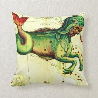 Antique Serpent Creature Map Art Vintage Style Throw Pillow