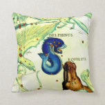 Antique Serpent Creatures Map Art Vintage Fantasy Throw Pillows