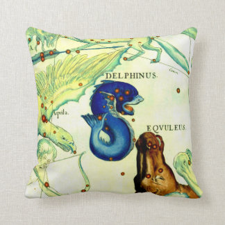 Antique Serpent Creatures Map Art Vintage Fantasy Throw Pillow