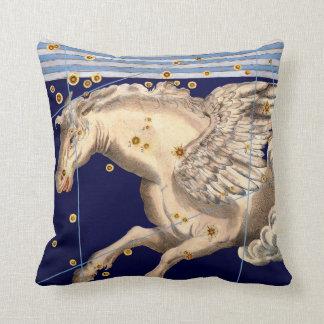 Antique Serpent Pegasus Fantasy Creature Vintage Throw Pillow