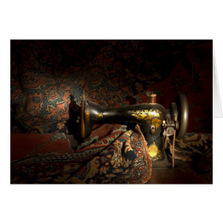 Antique sewing machine with tapestry. stationery note card