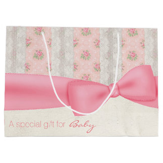 Antique Shabby Pink and Ivory Baby Gift Bag