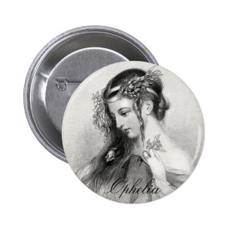 Antique Shakespeare Ophelia John Hayter Portrait Button