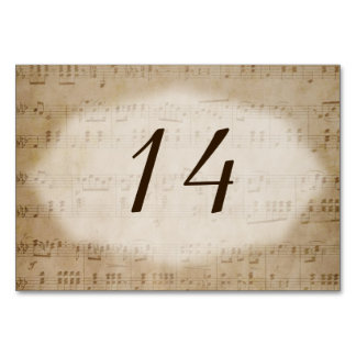 Antique Sheet Music 3 Table Number Placecards Card