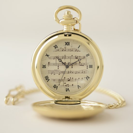 Antique Sheet Music Black Roman Numerals Pocket Watch