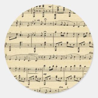 Antique Sheet Music Classic Round Sticker