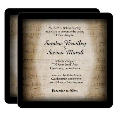 Antique Sheet Music Framed Wedding Invitation