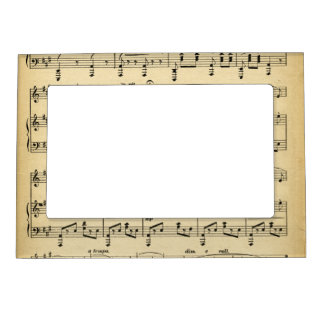 antique sheet music magnetic photo frame - Music Picture Frame