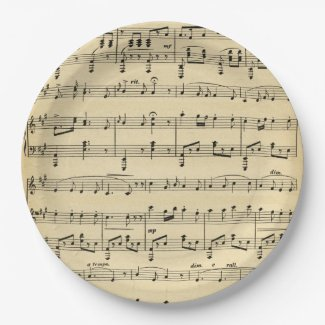 Antique Sheet Music Paper Plate