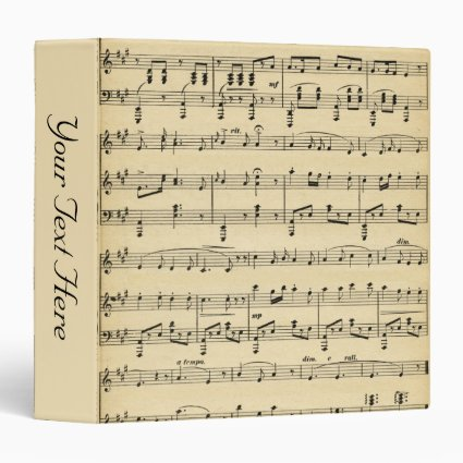 Antique Sheet Music Personalized 3 Ring Binder
