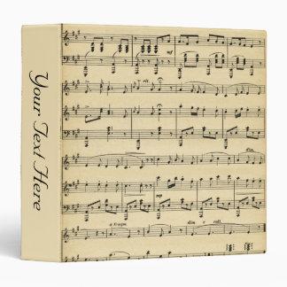 Antique Sheet Music Personalized 3 Ring Binder