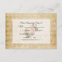Antique Sheet Music Pink Rose Wedding RSVP card