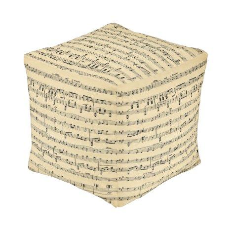 Antique Sheet Music Pouf