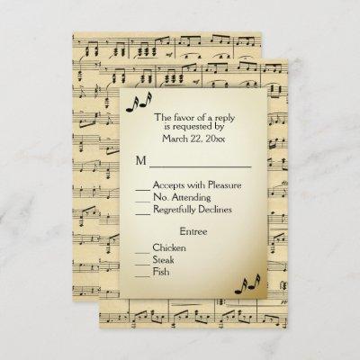 Antique Sheet Music RSVP with Menu Choices