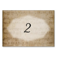 Antique Sheet Music Table Number Placecards Table Card