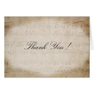 Music Theme Antique Sheet Music Thank You Card