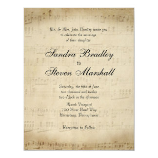 Antique Sheet Music Theme Wedding Invitation