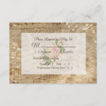 Antique Sheet Music Vintage Rose Wedding RSVP card