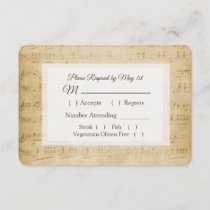 Antique Sheet Music Wedding RSVP card