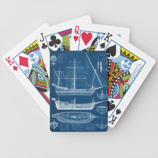 Antique Ship Blueprint I Bicycle Playing Cards