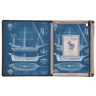 Antique Ship Blueprint I Cases For iPad