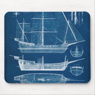 Antique Ship Blueprint I Mouse Pad