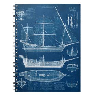 Blueprint notebooks journals zazzle antique ship blueprint i notebook malvernweather Image collections