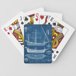 Antique Ship Blueprint I Playing Cards