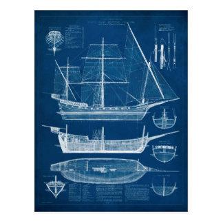 Antique Ship Blueprint I Postcard