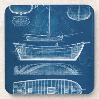Antique Ship Blueprint II Beverage Coaster
