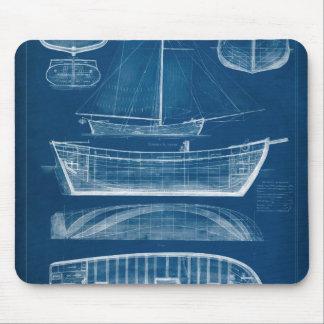 Antique Ship Blueprint II Mouse Pad