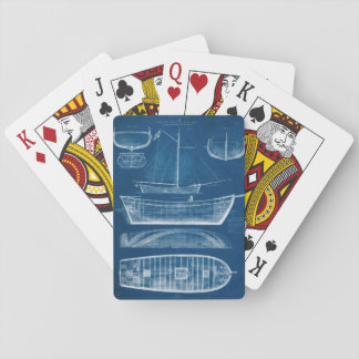 Antique Ship Blueprint II Playing Cards