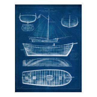 Antique Ship Blueprint II Postcard