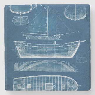 Antique Ship Blueprint II Stone Coaster