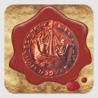 ANTIQUE SHIP RED WAX SEAL PARCHMENT