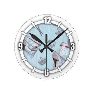 Antique Shoes Blue Clock