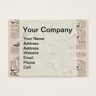 Antique shoes newspaper advertising business card